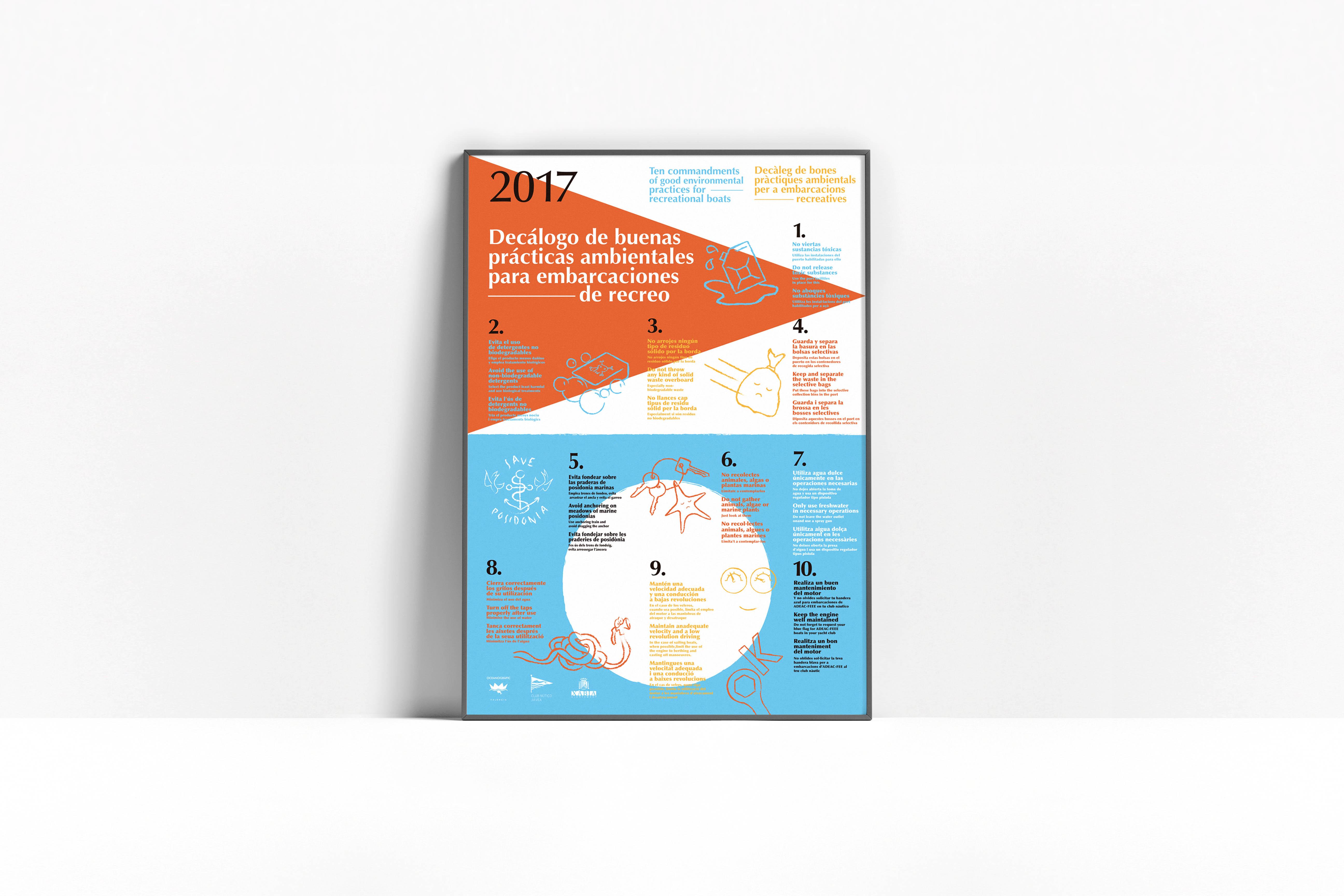 Cartel que contienen un decálogo de buenas prácticas para los usuarios del Club Náutico de Jávea diseñado por Lujan Estudio.